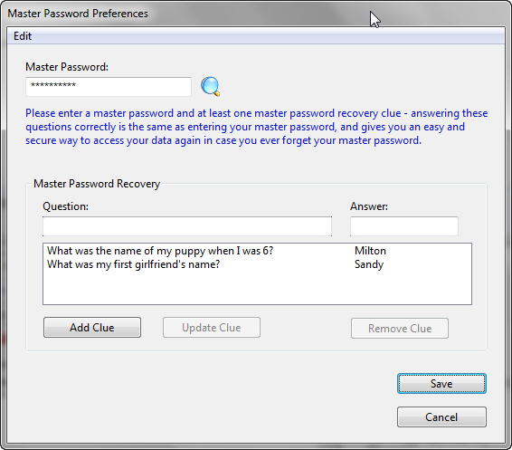 Preferences. dialog. containing an example master password and master passw